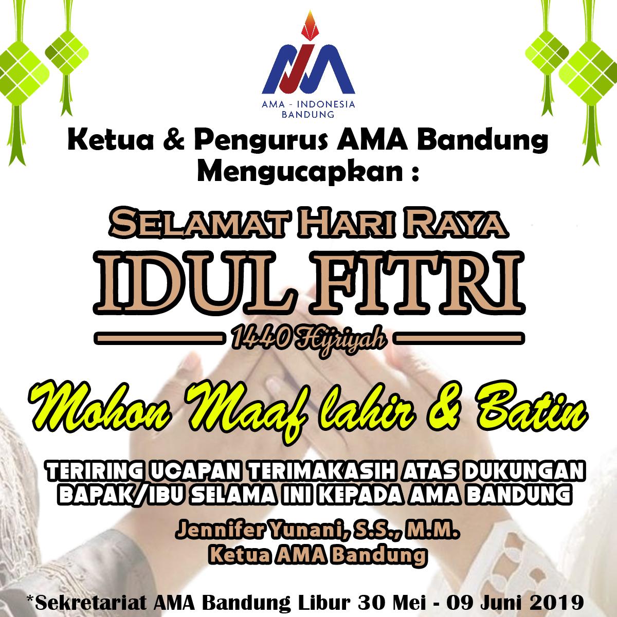 Selamat Idul Fitri 1440 Hijiriyah dari AMA Bandung